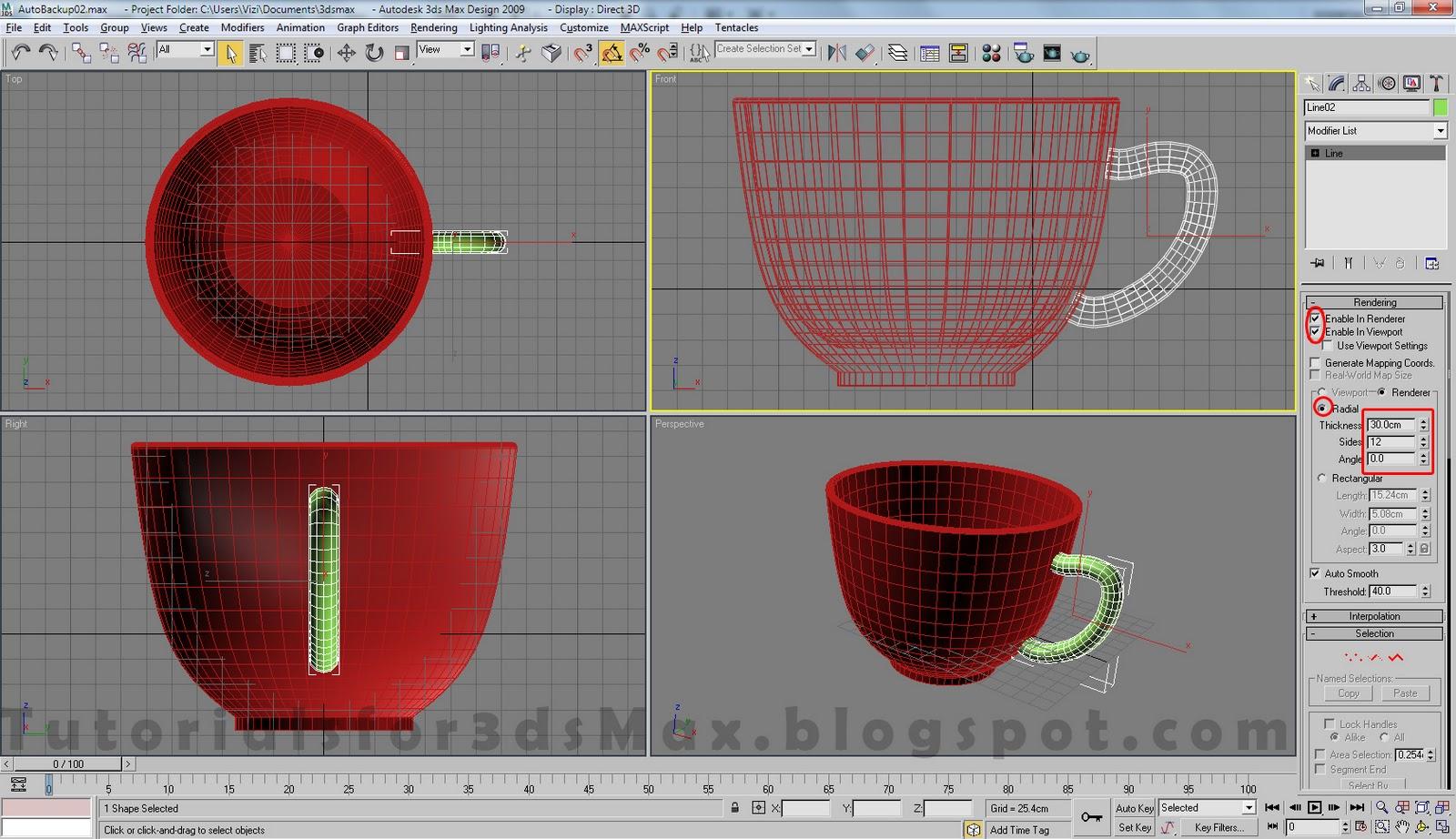 آموزش مدلسازی فنجان در تری دی مکس