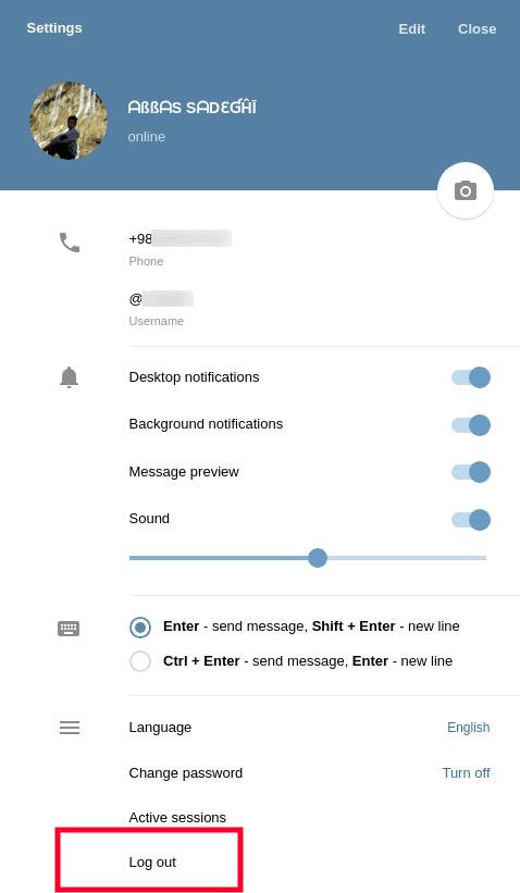 آموزش نحوه خروج از تلگرام